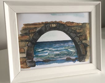 Watercolour stone arch print