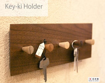 Wood Key holder wall, Wooden key hook, Key rack organizer home, Key put storage, Key hanger, Walnut Oak wood, Housewarming gift