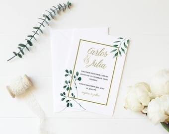 Greenery Wedding Invitation Printable • Vintage Florals • Botanical  • Made to Order • Invitación de Boda en Español a Imprimir •  Flores