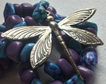 Blue & Purple Dragonfly Necklace