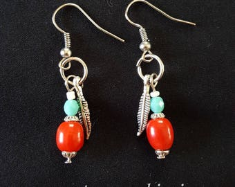 Red & Turquoise Feather Earrings