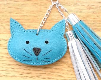 tassel and cat turqoise blue leather handbag