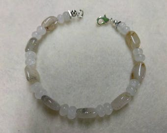 Moonstone Rutile Quartz and Hematite Beaded bracelet