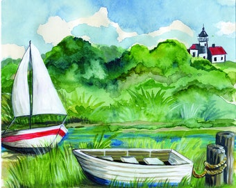 Two Boats on the Shore Watercolor Print Choose Your Size