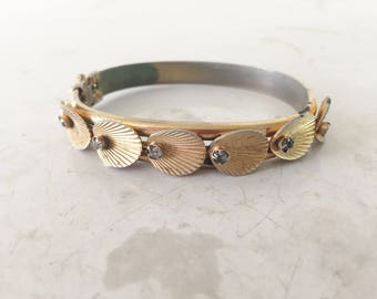 Shell and rhinestone clamper bracelet vintage