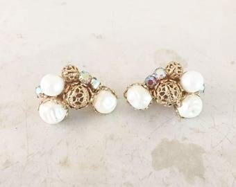 Vintage Half Moon Aurora Borealis Rhinestone Cluster Earrings