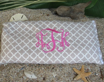 Heat Therapy Rice Bag GRAY - Hot Cold Wrap - Monogram Included FREE Shipping within USA; great gift under 20