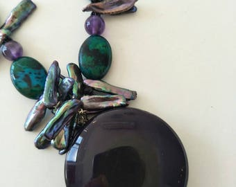 SOLD.    Chrysphase, Agate,  Amethyst and Freshwater Pearl necklace and earring set.