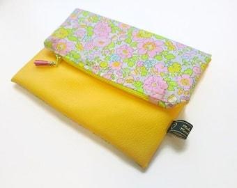 Yellow faux leather folding clutch bag / Liberty / Fleur / neon / clutch