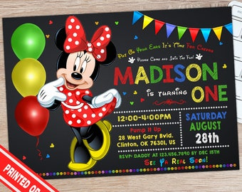 SALE 50% - Minnie Mouse Invitation - Red Minnie Mouse Invitation - Minnie Mouse Birthday