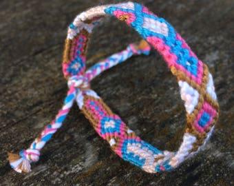 Friendship bacelet,handmade,hand woven,soft pure cotton,hippie,boho,aztec