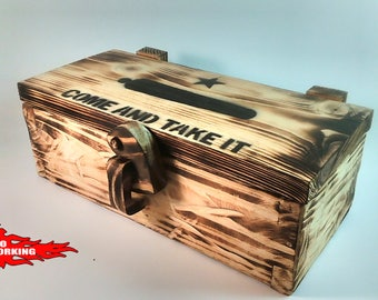 Come and take it box, Texas, patriot, wooden hinges and latch, rustic, torched, handmade, made to order