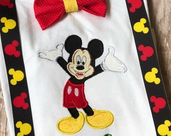 Mickey Mouse Bow tie and Suspenders Shirt