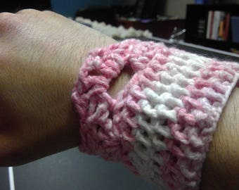 Pink and White Wristband