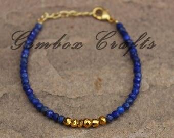 Natural Lapis Lazuli & Golden Pyrite 3-4mm Roundel Faceted Beaded Gold Plated Bracelet