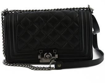 Leather Quilted Shoulder Bag with Leather and Chain Strap