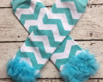 CLEARANCE/ clearance/Blue  and white leg warmers/ baby leg warmers/ chevron leggings /