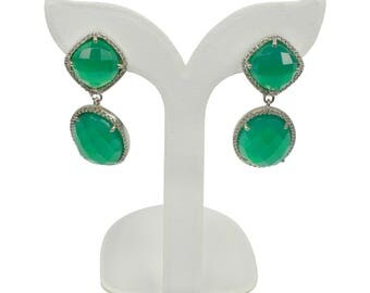SBER013 925 Sterling Silver Green Onyx Earring surrounded With CZ