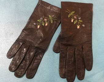 Soft Leather Embroidered Gloves