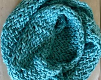 Crocheted Chunk Loop Scarf, Infinity (Sea Foam)