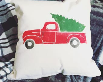 Vintage Truck Christmas Tree Pillow