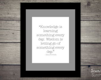 Knowledge & Wisdom Quote   Inspirational Black and White Print   Library Decor   Typography Wall Art   Instant Digital Download