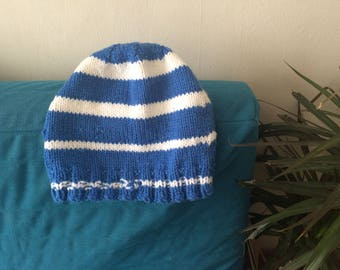 Vintage Winter Hat Blue and White Stripes