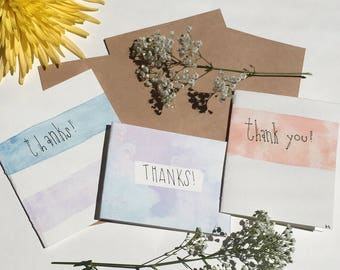 3 Watercolor Thank you Cards