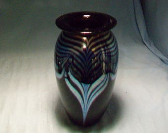 Robert Eickholt Silver Blue Pulled Feather Vase