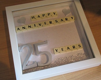 Personalised Scrabble Art - Handcrafted Anniversary Frame