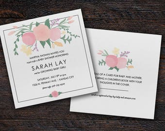 Floral Baby Shower Invitation Digital File