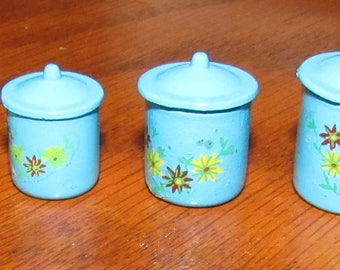 Vintage Dollhouse Miniatures (New Old Stock) Set of 4 Blue Graduated Metal Canisters with Flowers