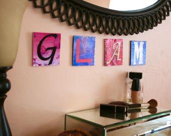 "Word Art for girl's room: ""GLAM"" mixed media"