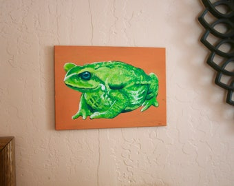 Acrylic painting of toad 4x6in