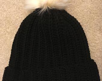 Slouchy Crochet Pom Pom Hat