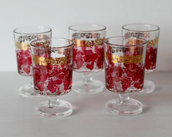 Vintage Red and Gold Luminarc Cordial Glasses from France, Grape Design