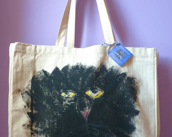 DENIS Melancholy Cat Original Hand Painted Heavy Duty Shopping Bag