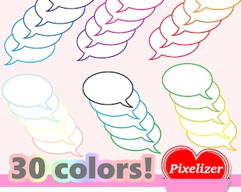 60 text balloons, 30 colors, png (transparent background), for scrapbooking, props, pimp your photo, 300dpi, textballoons, PNG, left & right