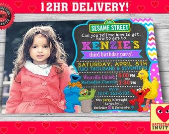 Sesame Street Birthday Invitation for Girls