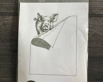 Impression Obsession Pig Cling Rubber Stamp