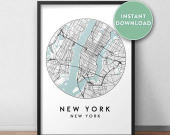 New York Map Print Etsy - Ny usa map
