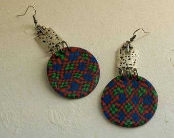 Medieval earrings mosaic pattern