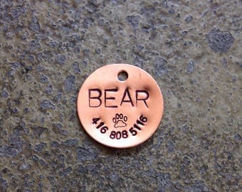 "Custom Pet ID Tag - 1"" Circle Copper - 24 gauge"