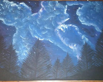 Starry Sky Forest canvas wall art
