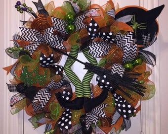 Witch Wreath,Witch Door Wreath, Wreath,Halloween Wreath,Front Door Decor,Front Door Wreath,Witch Door Decor, Halloween Decor,Spooky Wreath