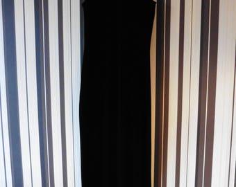 Black Velvet Vintage Dress/Dress With Halter Neck/Maxi Dress/Dress With Split