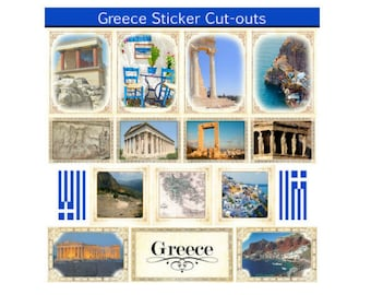 Scrapbook Stickers - Scrapbook Customs Sightseeing Collection Greece Picture Cut-Outs Cardstock Travel & Vacation Embellishments