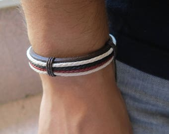PU leather bracelet for man, Garnet, black and white, 55 mm