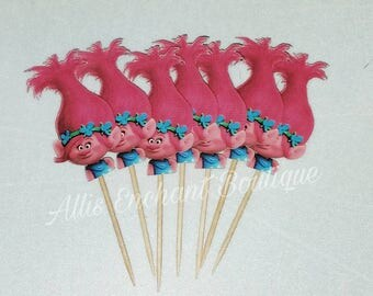 Trolls Cupcake Toppers, Poppy and  Branch Cupcake Topper, Birthday Trolls Party Ideas 24ct