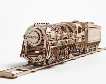 UGears -460 Steam Locomotive with Tender- 3D Wooden Puzzles/Models - UGLoco
